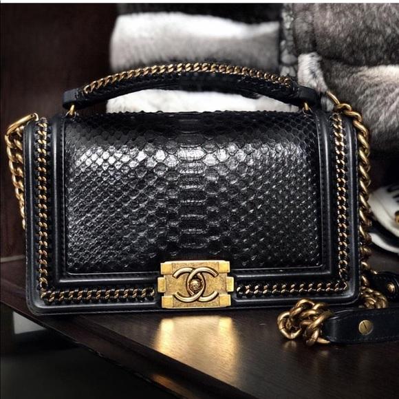 CHANEL Handbags - SOLD❌CHANEL PYTHON Medium Le Boy Bag Limited2017